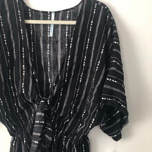 // NWT Black and White Striped Romper